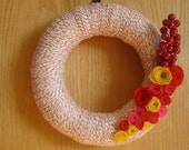 Red AND Cream Yarn Wreath with Felt Flowers-10 inches Wreath-Ready To Ship
