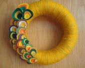 Mustard Color Yarn Wreath with Colorful Felt Oysters with beads-12 in-Ready to Ship