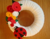 CUTE LADYBUG YARN WREATH DOOR AND WALL DECORATION-8 IN WREATH