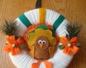 Cute Unique Thanksgiving Yarn Wreath With A colorful Turkey  -8 IN WREATH