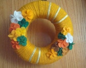 Handmade Yarn Wreath-Spring Colors-8 in