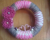 Yarn Wreath Pink Hearts Door- Wall Decoration