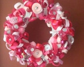 Valentines Day Pink Garden Yarn Wreath