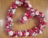 Pink Love Wreath-Heart Shaped Grapevine Wreath