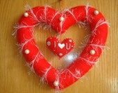 Heart Shaped Red Yarn Wreath Valentines Day Decor