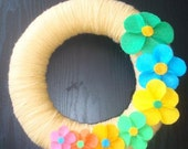 Handmade Fun Yarn Wreath- Colorful Flowers-10 in Wreath