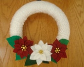 Handmade Yarn Wreath with Red and White Felt Poinsettias-10 in wreath