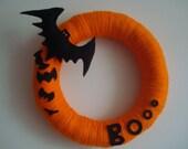 SALE ITEM - Free Shipping for USA buyers - Handmade Halloween Yarn Wreath with Felt Bats-Door-Wall Decoration-14 in Wreath- Ready to Ship