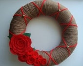 Brown Yarn Wreath With  Handmade Red Roses -12 IN Wreath-Ready to Ship