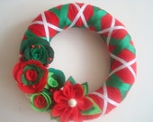 Handmade Holiday Yarn Wreath -10 in wreath