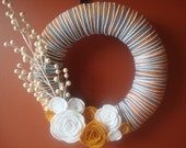 Handmade Yarn Wreath With Felt Roses -12 IN Wreath-Ready to Ship