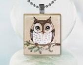 Brown Owl Pendant Original Tiny Print