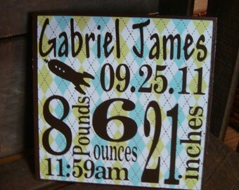 Personalized Birth Announcement Block-Boy- click for more color options