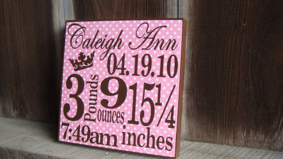 Personalized Birth Announcement Block-Girl- click for more color options