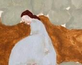 "Digital print of original abstract painting. Contemporary figure wall art  ""Billow"""