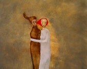 "Giclee print. Figurative art of original painting. gold and red wall art. ""Steal Away"""