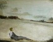 "Giclee print. figure art. figurative wall art. woman in landscape art. ""Lazy Days"""
