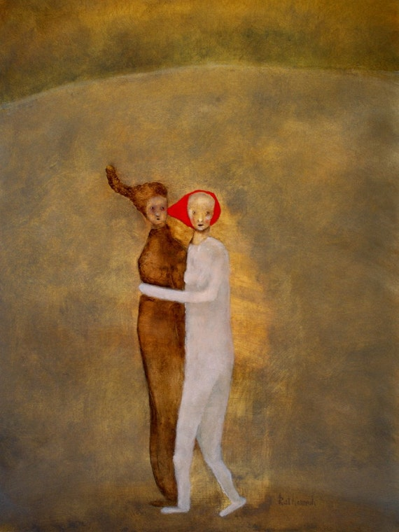 """Giclee print. Figurative art of original painting. gold and red wall art. """"Steal Away"""""""
