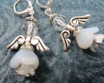 Angel Earrings in Silver and White with Swarovski Crystals
