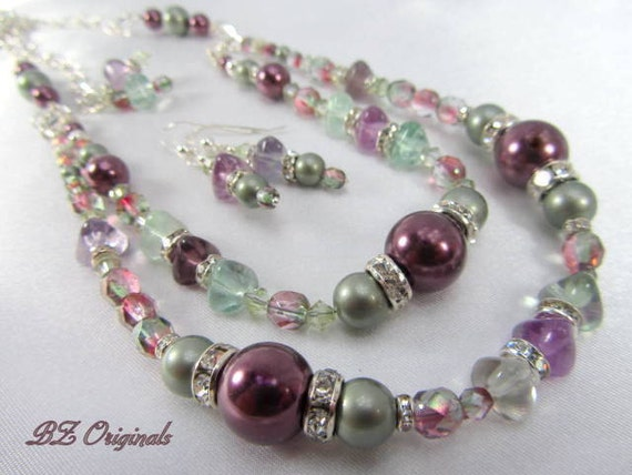 Swarovski Pearl Necklace and Earring Set in purple plums and sage powder green with semiprecious fluorite and crystal accents