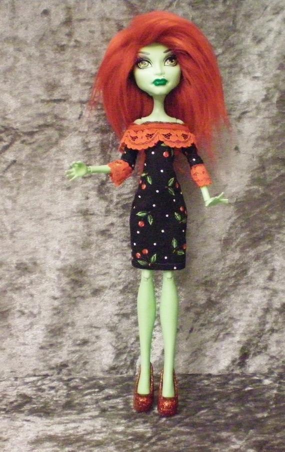 Cherry print dress for monster high dolls