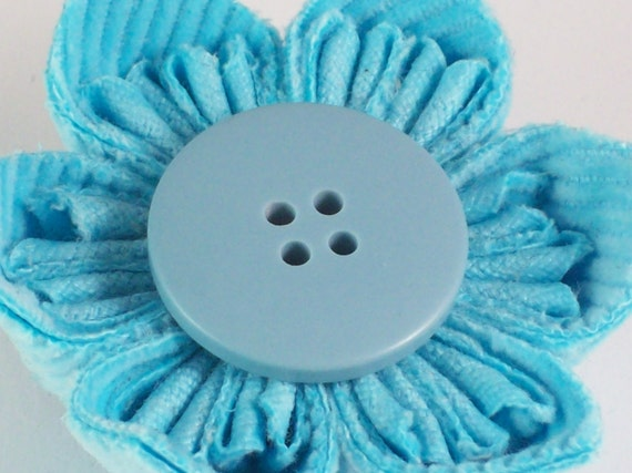 Large Blue Corduroy Fabric Origami Brooch