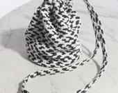 Leopard vintage cotton drawstring pouch (Long Strap)