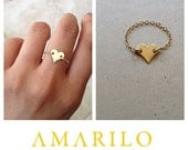 Handmade Heart Chain Ring in genuine 14 kt gold fill or Sterling silver