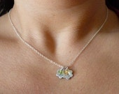 Personalized Fine Silver Flower Shaped Tag and Birthstone Necklace - 2 pendants/2 birthstones
