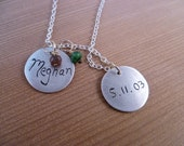 Personalized Fine Silver Name and Birthdate Round Tags with Birthstones- 2 Pendants/Birthstones