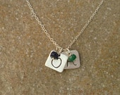 Personalized Fine Silver Square Initial Tag and Birthstone Necklace - 2 pendants/birthstones