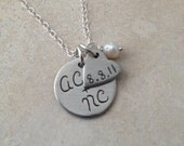 Anniversary/Wedding/Engagement Fine Silver Round and Heart Tags Necklace with Personalized Initials and Date