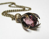 reserve for zoey Gothic Steampunk RAVEN Claw, Necklace Pendant with Purple Amethyst