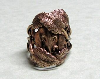 Jungle Elephant Leaf Ring