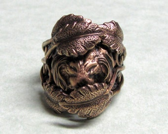 Hidden Lion 'King of the Jungle' Leafy Ring Band