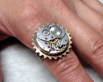 Steampunk Ring with Sprocket bezel ( SGR2 )