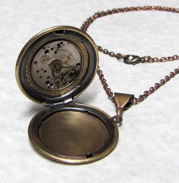 Steampunk Gear Locket Necklace ( SL4 )