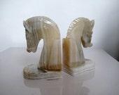 Vintage Marble Quartz Horse Head Book Ends Set of Two