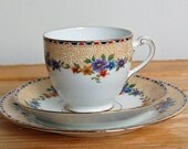 Vintage Teacup and Saucer, Trio, Bone China, Cup, Saucer and Cake Plate, Dainty Floral Three Piece Set