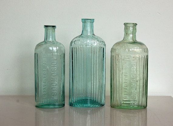 Aqua Glass Bottles, Vintage Poison Bottle, Instant Collection of Three, Antique, British, Embossed, Use for Decor