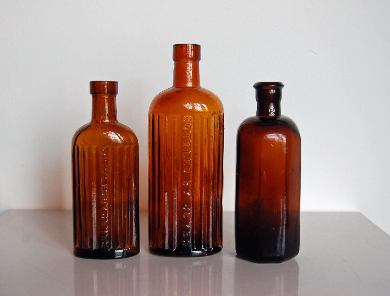 Amber glass bottles vintage reddish brown bottle set of for Retro glass bottles