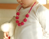 Very Pink Raspberry necklace for girls - all natural and ecofriendly