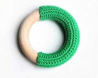 Emerald green crochet teething ring :)