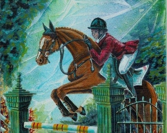 Leap of Faith, Hunter-Jumper Acrylic Horse Painting