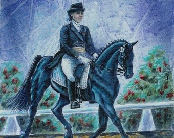 Dressage in Blue Acrylic Horse Painting