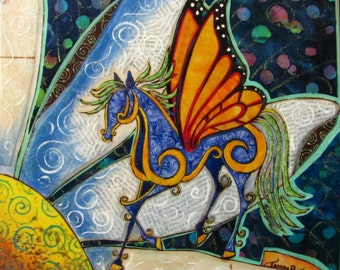 """Archival print, Mixed Media Fabric Collage """"The Daisy Trot"""" horse with butterfly wings"""