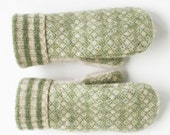Women's Green and Cream Upcycled Wool Mittens - Free Shipping to USA and Canada