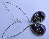 Rainbow Titanium Druzy Teardrop Earrings on Long Sexy Silver Rhodium Plated Ear Wires
