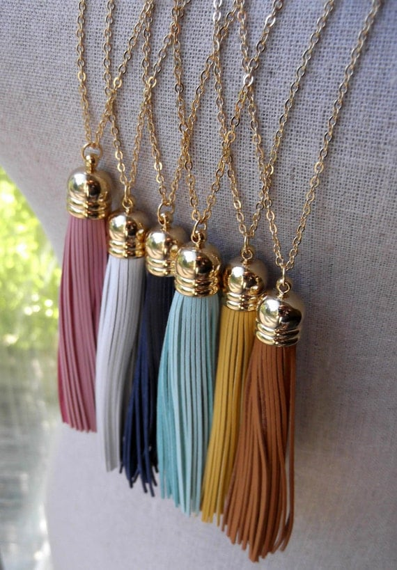 Turquoise Leather Tassel Necklace with Long Gold Chain