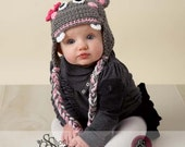 Hippo Earflap Beanie Hat-Boy or Girl in Grey- Sizes Newborn to 4T